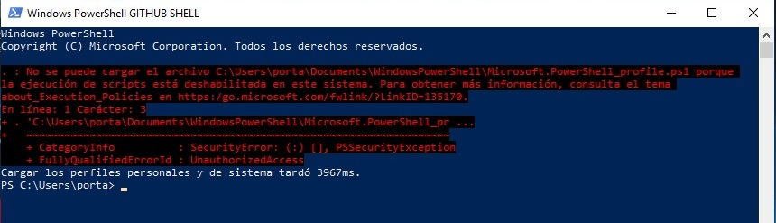 error script en Powershell para github-shell