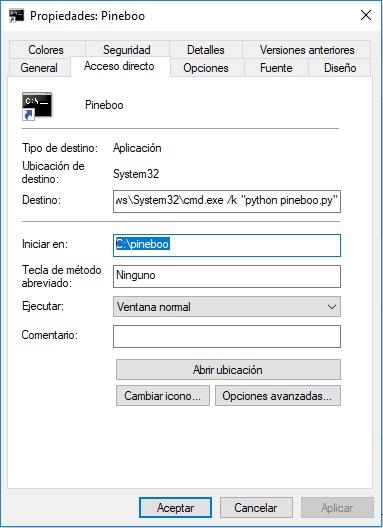 Acceso directo a Pineboo en windows-1
